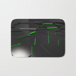 Black fractured surface with green glowing lines Bath Mat