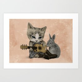 THE CAT AND THE RABBIT Art Print