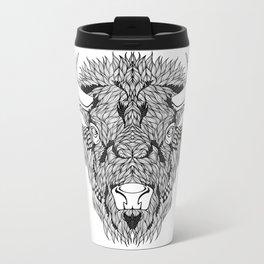 BISON head. psychedelic / zentangle style Metal Travel Mug