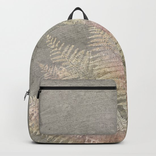 Fossil Rose Gold Fern on Brushed Stone Backpack