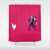 cock Shower Curtains featuring Walking the Cock by rob art | simple