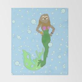 Sloth Mermaid Throw Blanket