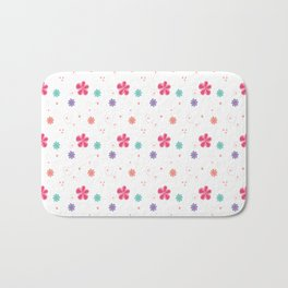 Flowers in white Bath Mat
