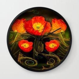 Decorative poppy Wall Clock