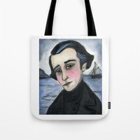 patrick Tote Bags featuring Patrick by Debra Styer Illustration