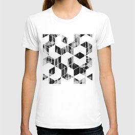 Elegant Black and White Geometric Design T-shirt