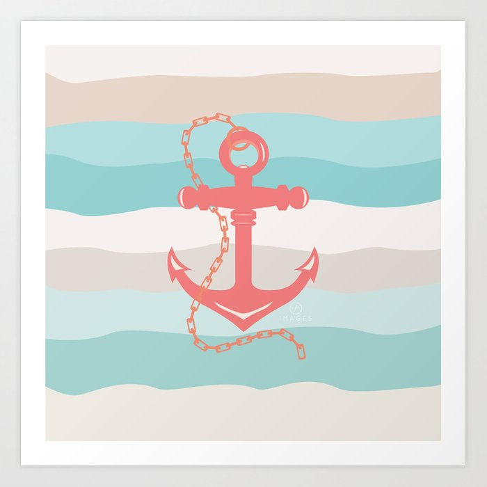 AFE Coral Anchor Nautical Art Art Print