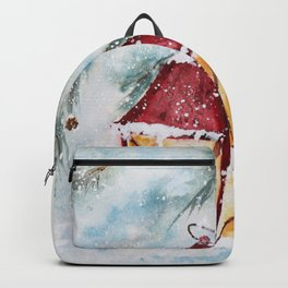 Snowy Red Lantern in the Pines Watercolor Backpack