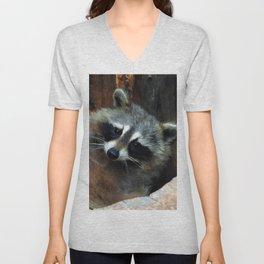 Raccoon Reclining Wildlife Photo Art Unisex V-Neck