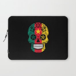 Sugar Skull with Roses and Flag of Cameroon Laptop Sleeve