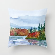 Mirror Lake in Autumn Throw Pillow
