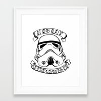 storm trooper Framed Art Prints featuring Storm trooper by Kitty Judge