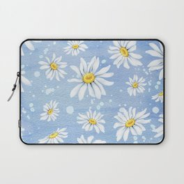 Spring Daisies On Sky Blue Watercolour Laptop Sleeve