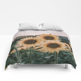 sunflowers / sunset Comforters