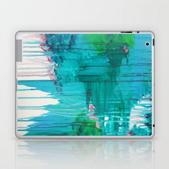 BLUE MONSOON - Stunning Rain Storm Dark Teal Clouds Navy Royal Blue Kelly Green Crimson Red Purple Laptop & iPad Skin