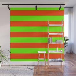 Bright Neon Green and Orange Horizontal Cabana Tent Stripes Wall Mural