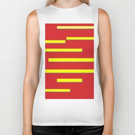 Bright Red and Bright Yellow Graphic Design Biker Tank