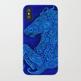 Blue Celtic Horse Abstract Spirals iPhone Case