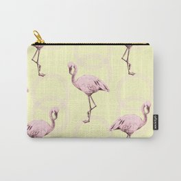 Simply Pink Flamingo Infinity Link Pale Yellow Carry-All Pouch