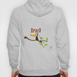 Vintage fly to Brazil Toucan Travel Poster Hoody