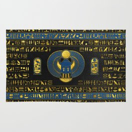 Golden Egyptian Scarab Ornament on  leather Rug