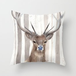 "Watercolor Painting of Picture ""Deer in Winter Forest"" Throw Pillow"