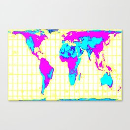 World Map: Gall Peters Colorful Canvas Print