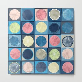 Deconstructed Watercolor Circles and Lines Metal Print