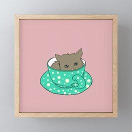 Fluffy Kitten In A Teacup Pink Background Framed Mini Art Print