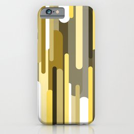 Flowing drops of paint in gold yellow, abstract liquid flow, golden background iPhone Case