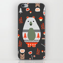 Christmas bears and birds iPhone Skin