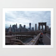 Brooklyn Bridge, View of New York City, Structural Architecture Art Print