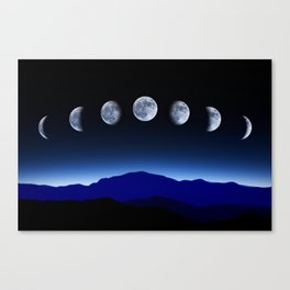 Moon Phases #blue Canvas Print