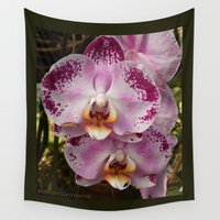 mexico Wall Tapestries featuring Pink Orchid Blossom from Mexico by Vermont Greetings