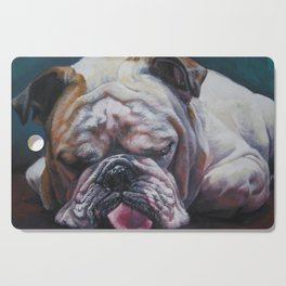 ENGLISH BULLDOG dog portrait painting by L.A.Shepard fine art Cutting Board