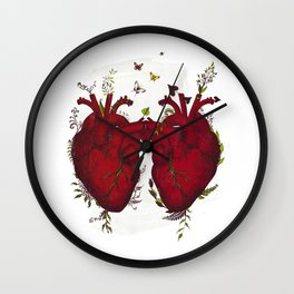 two hearts beating as one Wall Clock