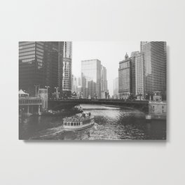 Dusk falls on Chicago Metal Print