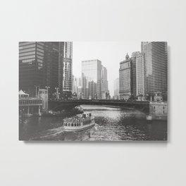 Dusk falls on Chicago Metal Print