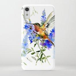 Alen's Hummingbird and Blue Flowers, floral bird design birds, watercolor floral bird art iPhone Case