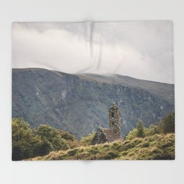 Glendalough Mountain Monastery Throw Blanket