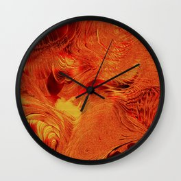 Red and Gold Abstract Frosted Stained Glass Swirl Wall Clock