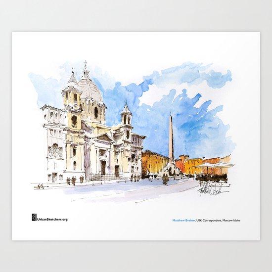 """Matthew Brehm, """"Roma, Piazza Navona"""" Art Print"""