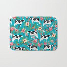 Holstein cattle farm animal cow floral Bath Mat