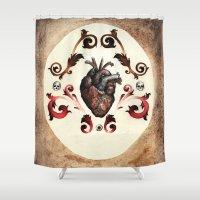 valentine Shower Curtains featuring Valentine by Meagan Meli