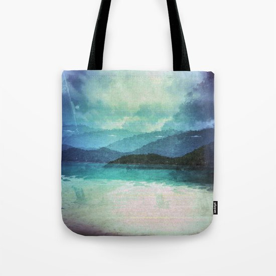 Tropical Island Multiple Exposure Tote Bag