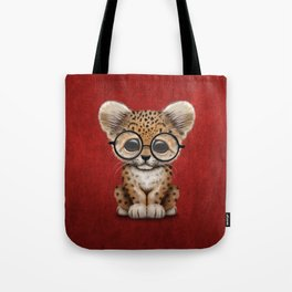 Cute Baby Leopard Cub Wearing Glasses on Deep Red Tote Bag