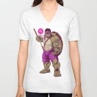 ninja turtle V-neck T-shirts featuring Hulk Ninja Turtle by Mike Wrobel