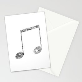 Typographic music note Stationery Cards