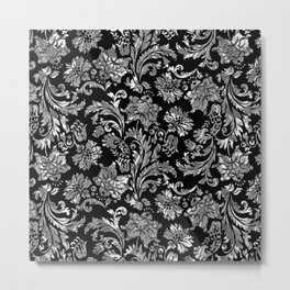 Black & Silver Vintage Floral Damasks Pattern Metal Print