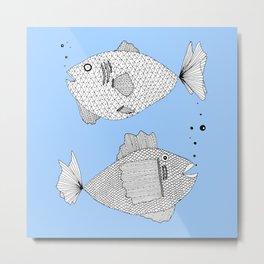 blue fish square Metal Print